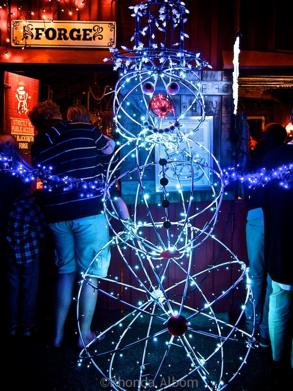 Snowman at MOTAT's Christmas lights display in Auckland New Zealand