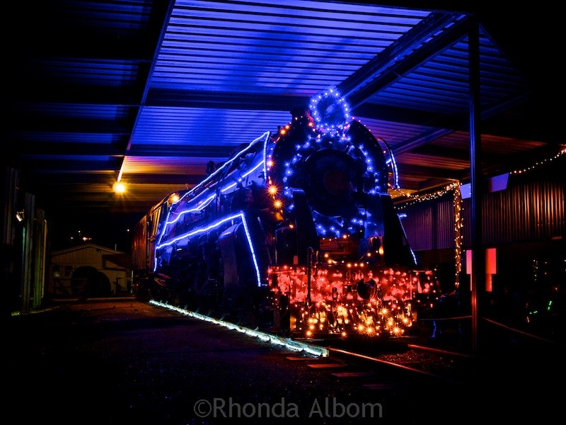 Steam train at MOTAT's Christmas lights display in Auckland New Zealand