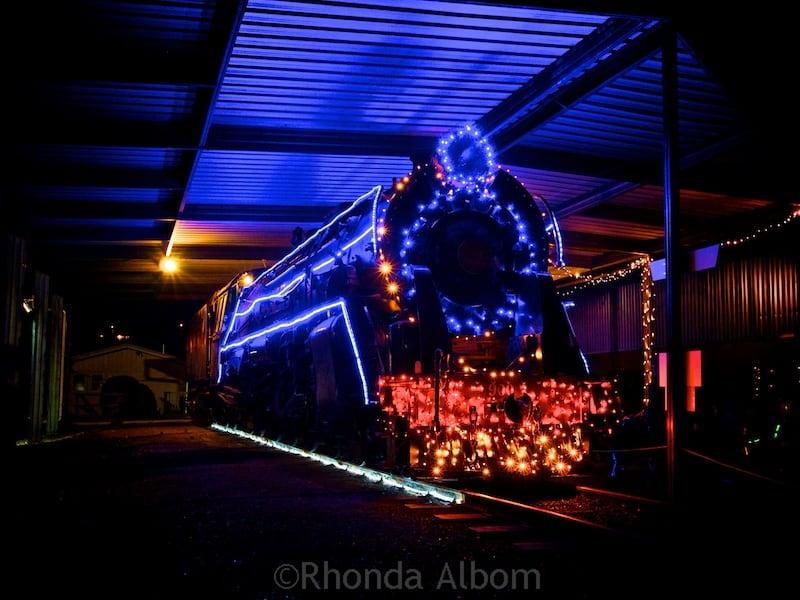 Steam train at MOTAT's Christmas lights display in Auckland New Zealand - MOTAT Christmas Lights Raise Money For Auckland Children