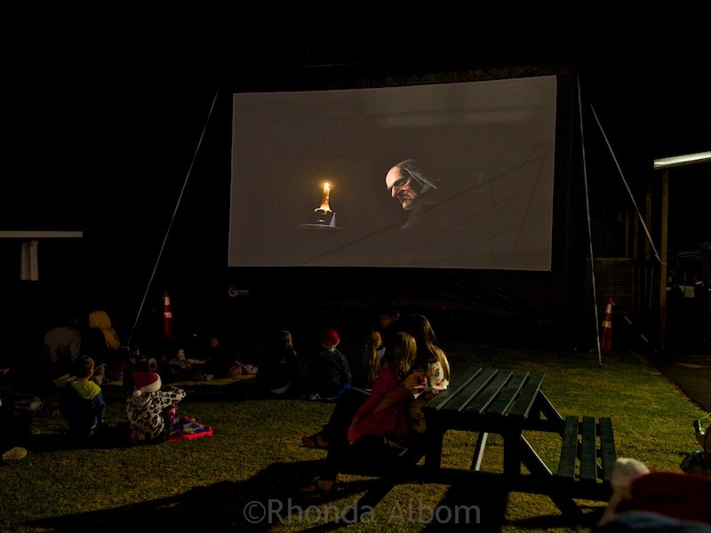 Outdoor movies at MOTAT's Christmas lights display in Auckland New Zealand