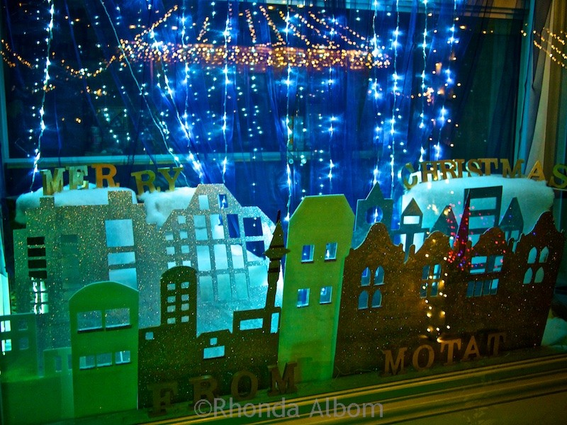 One of the early 1900 shop windows at MOTAT's Christmas lights display in Auckland New Zealand