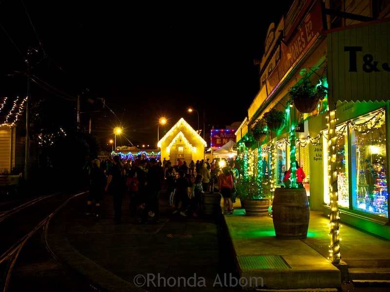 MOTAT village decorated in Christmas lights display in Auckland New Zealand - MOTAT Christmas Lights Raise Money For Auckland Children
