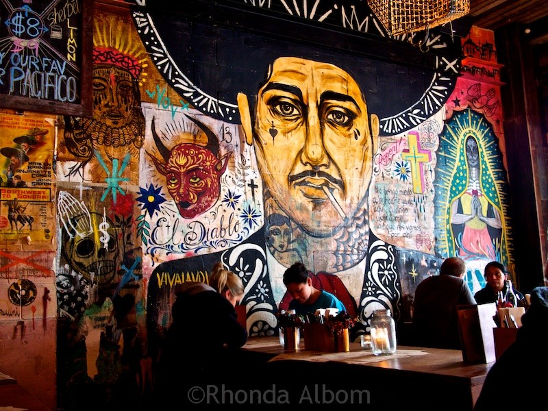 Artwork on a wall in Mexico Restaurant in Auckland New Zealand