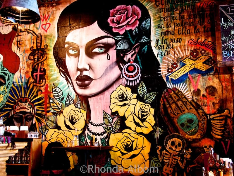 Artwork on a wall in Mexico restaruant in Auckland New Zealand