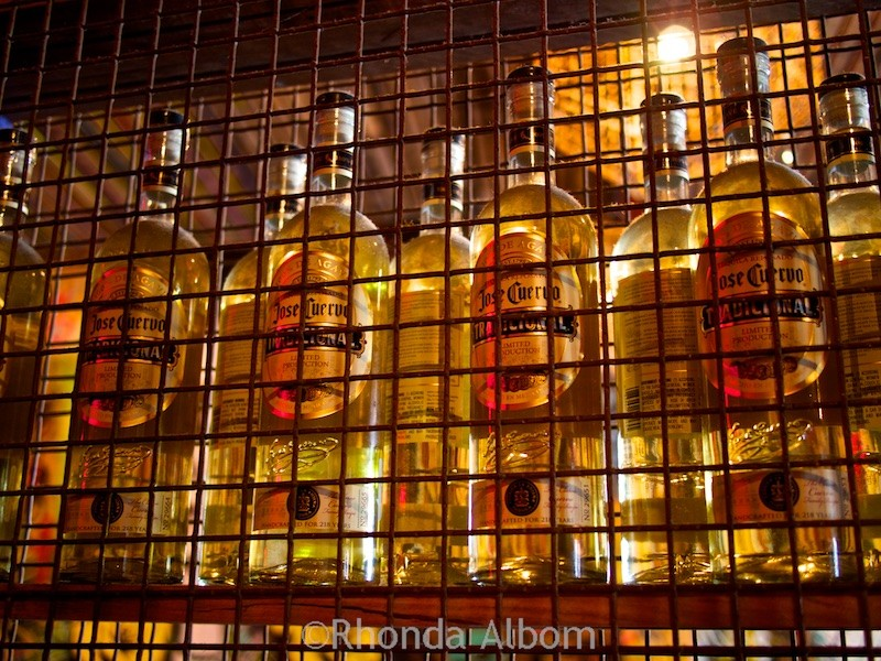 A wall of Jose Cuervo tequila at Mexico restaurant in Auckland New Zealand