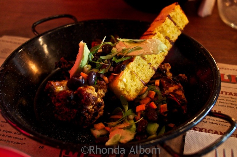 Grilled cornbread with roasted cauliflower at Mexico restaurant in Auckland New Zealand