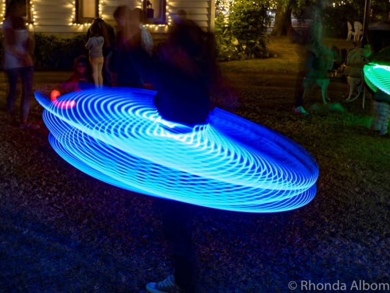 Lit up hula-hoops and poi at MOTAT in Auckland New Zealand