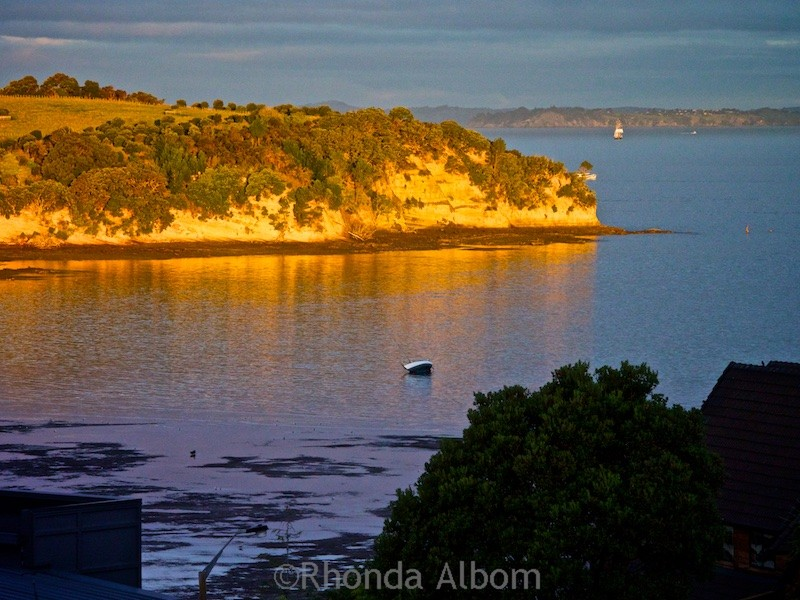 Golden hour on Okoromai Bay Auckland, New Zealand