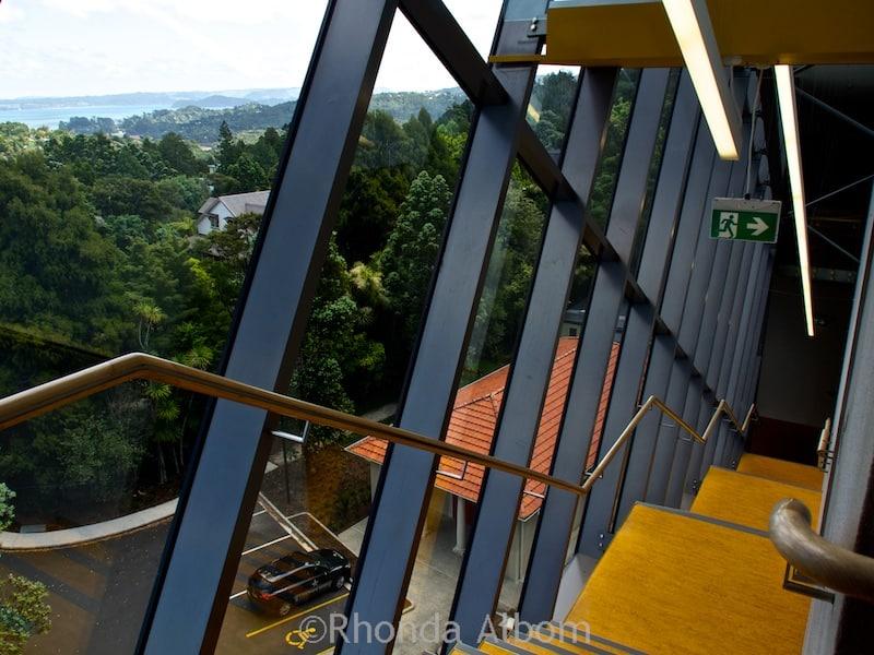 Stairwell with massive rainforest views in Te Uru: Waitakere Contemporary Gallery in Titirangi, Auckland, New Zealand