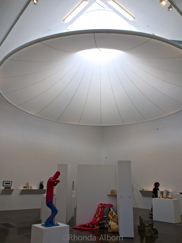 Hanging lantern to bring diffused light Inside Te Uru: Waitakere Contemporary Gallery in Titirangi, Auckland, New Zealand