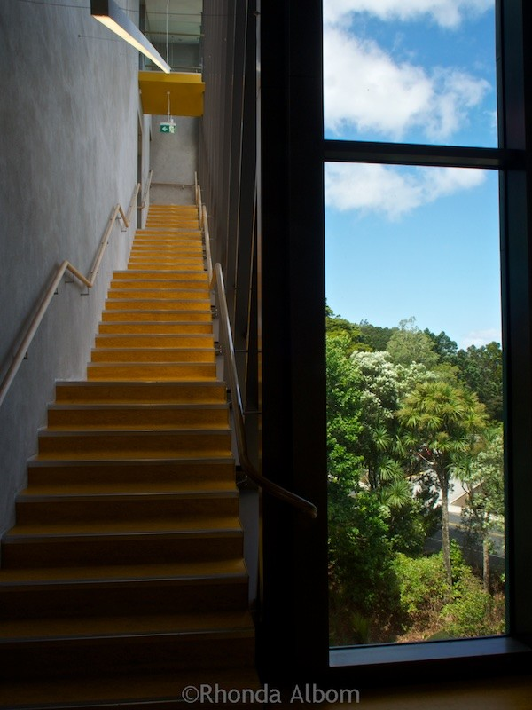 Stairwell with massive rainforest views in Te Uru: Waitakere Contemporary Gallery in Titirangi, Auckland, New Zealand
