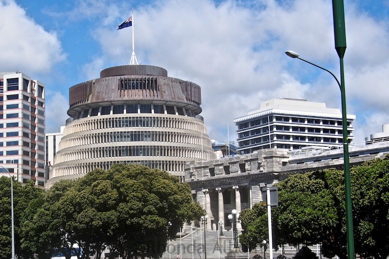 The Beehive - one of the parliament buildings in Wellington New Zealand