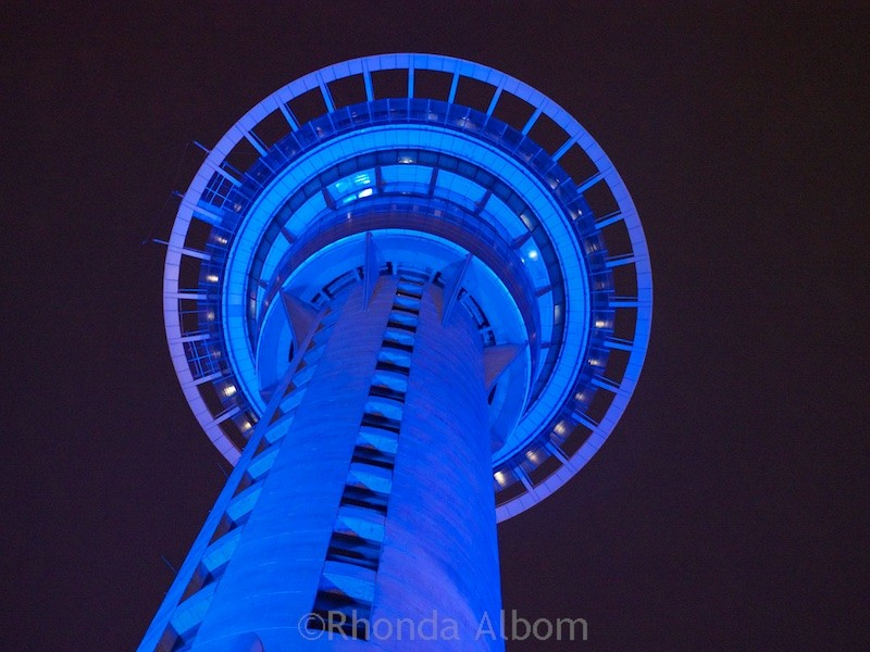 Auckland Sky Tower at night, Auckland New Zealand