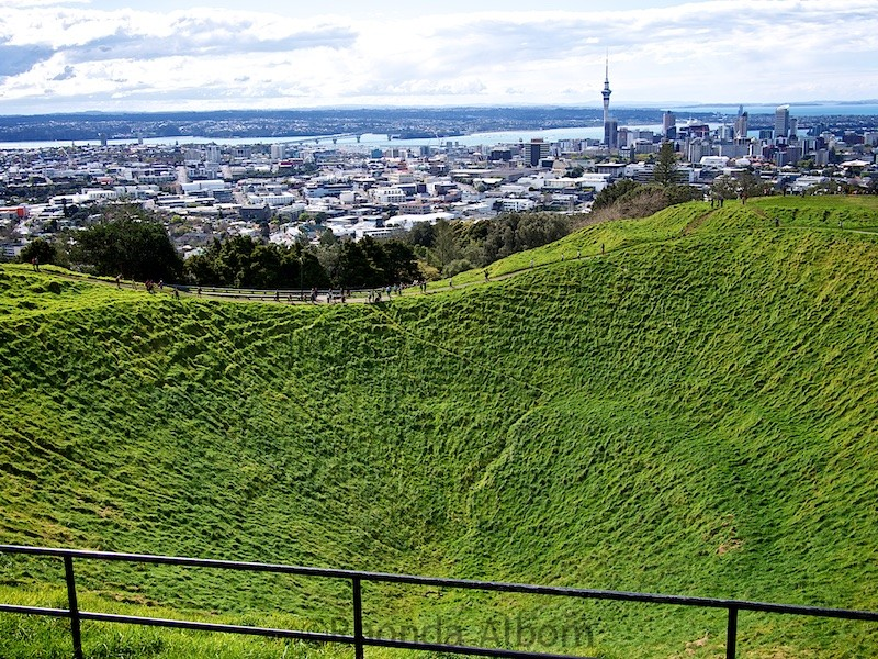 View of the Mt Eden crater and city at the top of Mt. Eden Auckland - one many extinct volcanoes in New Zealand