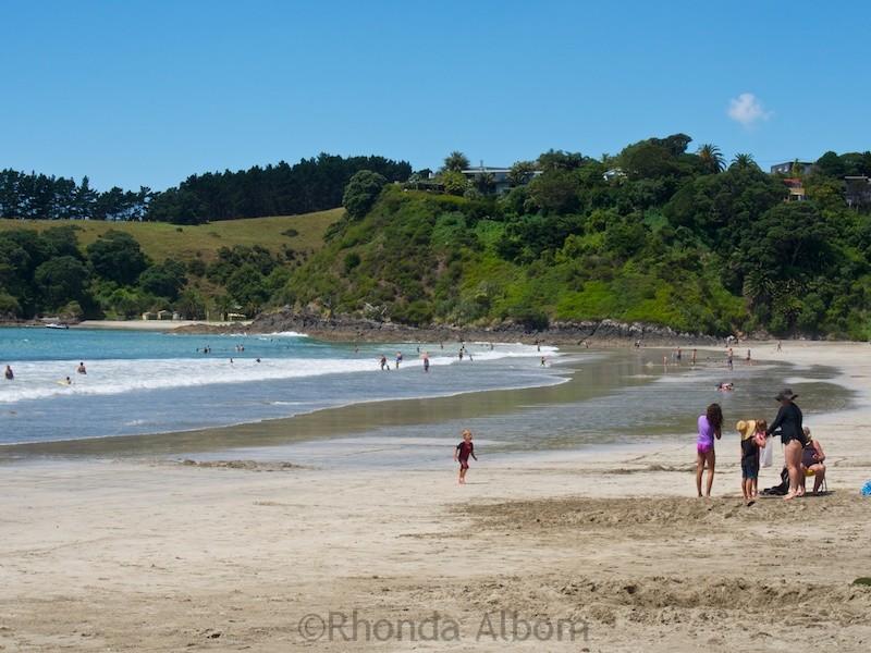Palm Beach, one of many Waiheke Island beaches near Auckland New Zealand