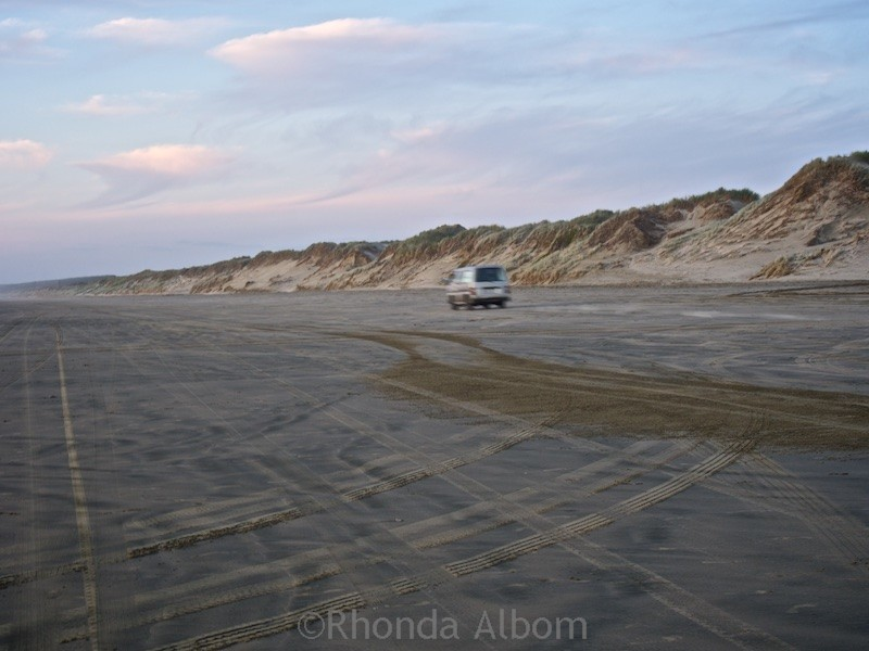 Car driving on Ninety-Mile Beach on the Aupouri Peninsula in New Zealand