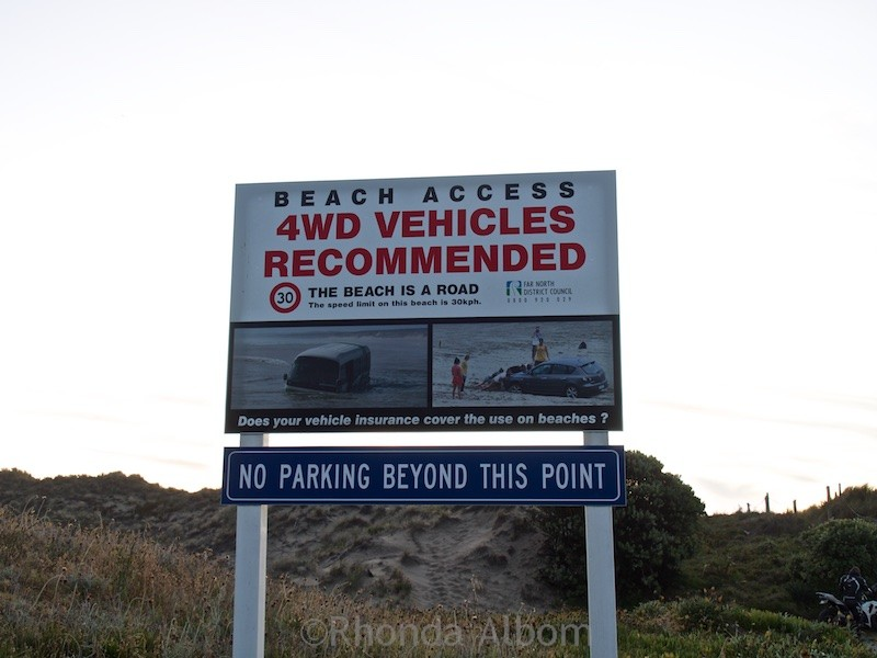 Sign at Ninety-Mile Beach on the Aupouri Peninsula in New Zealand