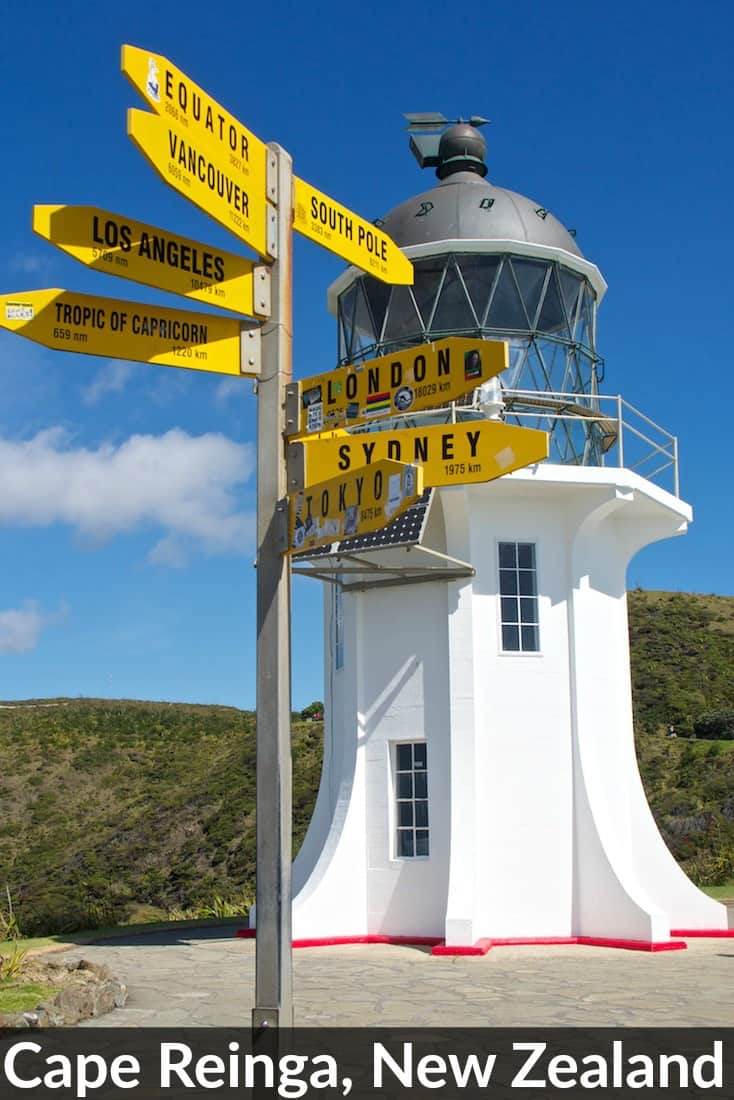 The famous lighthouse at Cape Reinga, the top of the North Island in New Zealand