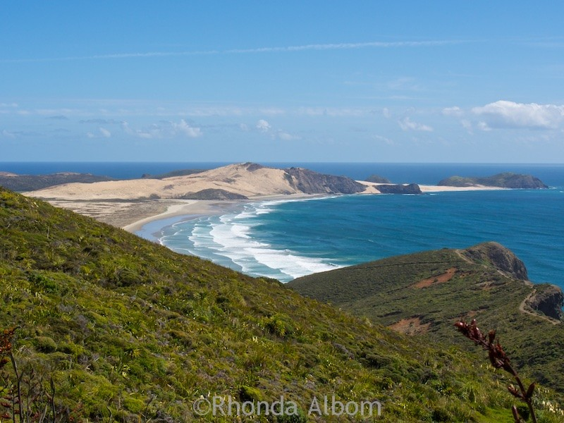 The northern tip of 90 mile beach at Cape Reinga in New Zealand