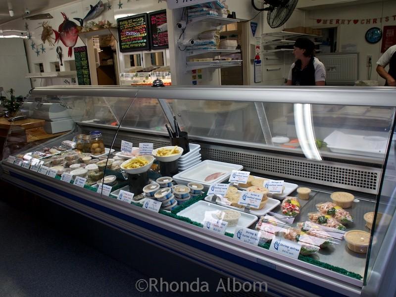 Fish counter at Mangonui Fish Shop in the Far North of New Zealand.