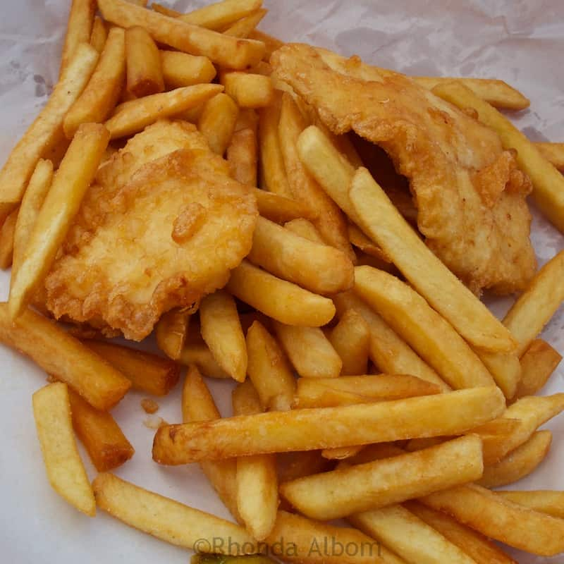 Fish and chips at the Mangonui Fish Shop, a landmark amongst the Far North restaurants in New Zealand.