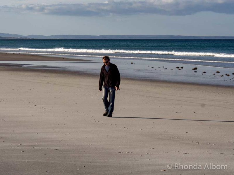 No footprints made as we walked along the white silica sand in New Zealand
