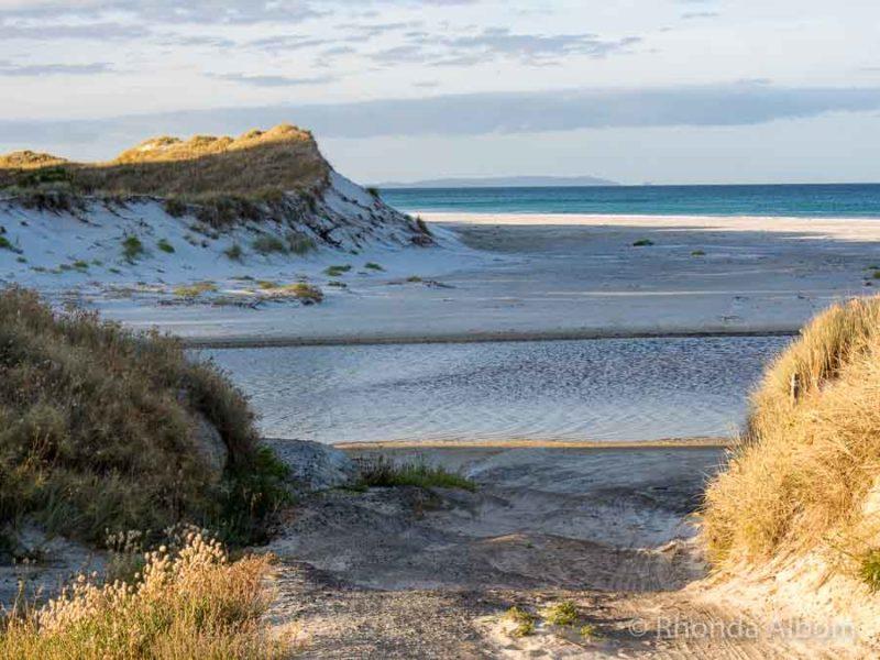 Initial view of the white silisca sand nz of Rarawa Beach on Aupouri Peninsuala