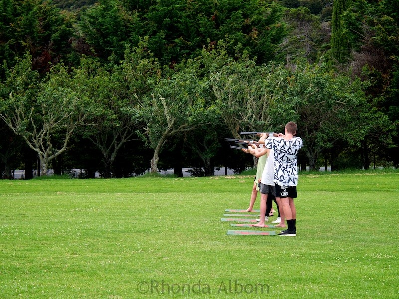 Skeet shooting at Wild on Waiheke on Waiheke Island outside of Auckland New Zealand
