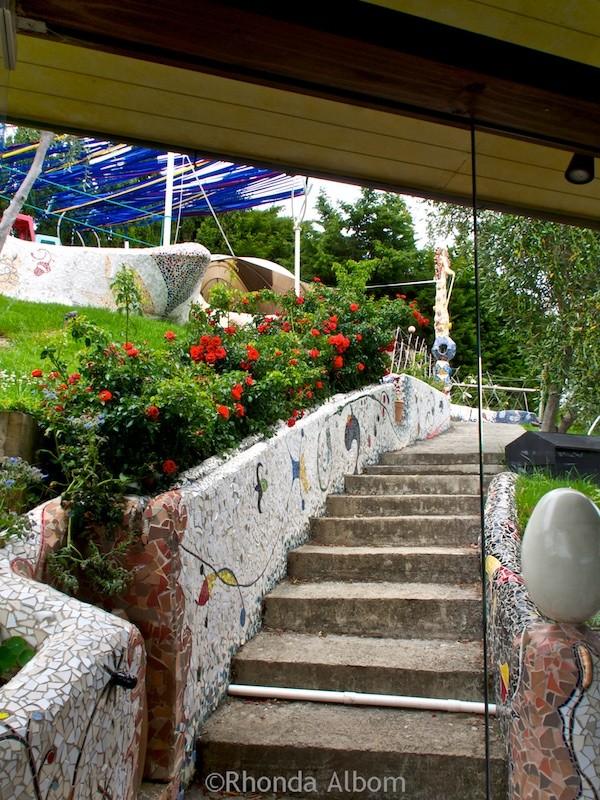 Mosaic tiled steps leading to the wine tasting area at Miro Vineyards on Waiheke Island outside of Auckland New Zealand
