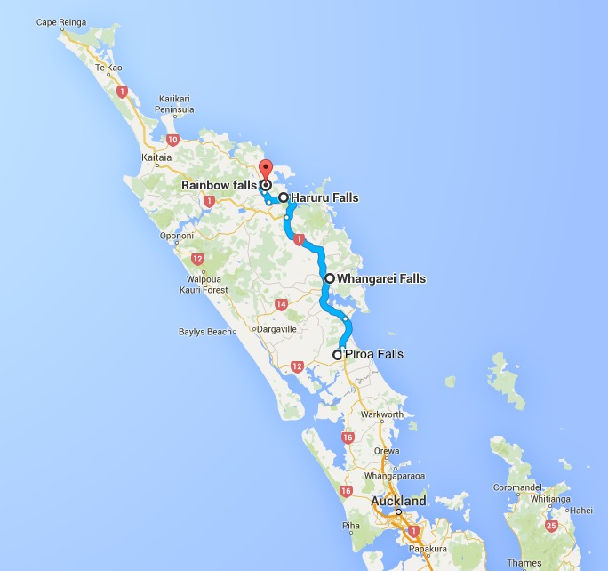 waterfalls map northland New Zealand