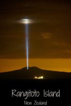 Light beam over Rangitoto Island outside Auckland New Zealand seen on 31 Jan 2016