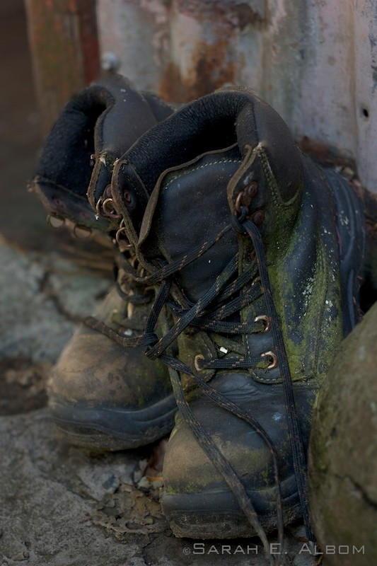 Dirty hiking boots at the Wellington Zoo in Wellington, New Zealand. Copyright Sarah E. Albom 2015; for more New Zealand photos, visit the blog