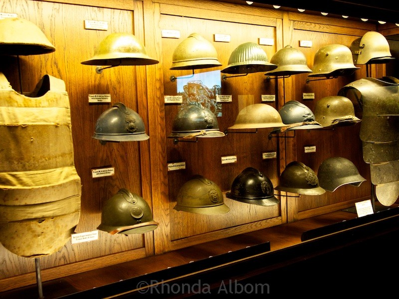 A collection of army helmets at the Great War Exhibition by Sir Peter Jackson in Wellington