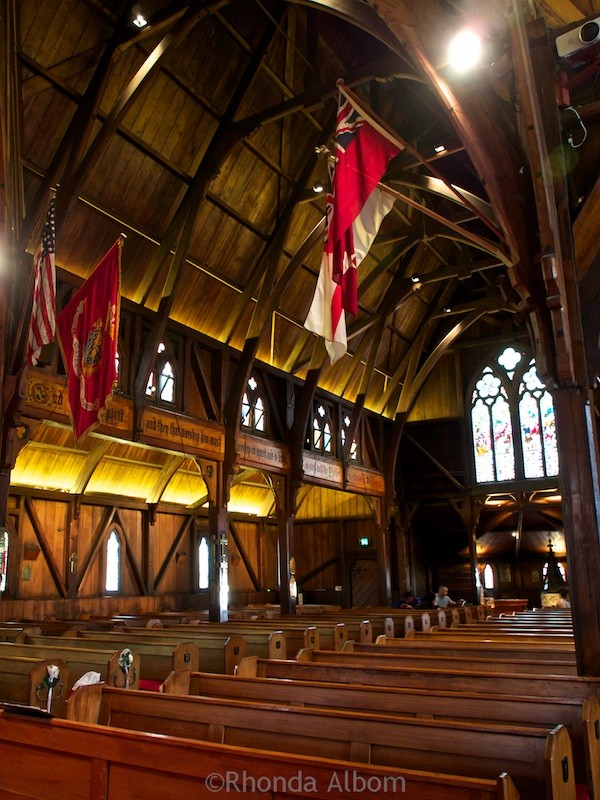 Natural timber interior of Old St Paul Cathedral in Wellington New Zealand