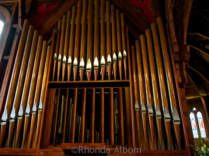 Organ inside Old St Paul Cathedral in Wellington New Zealand