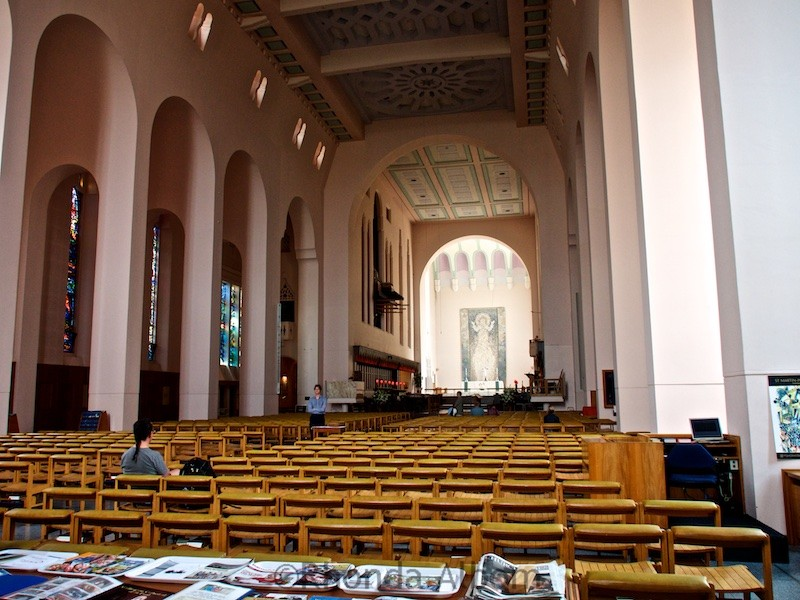 Modern interior of new St Paul Cathedral in Wellington New Zealand