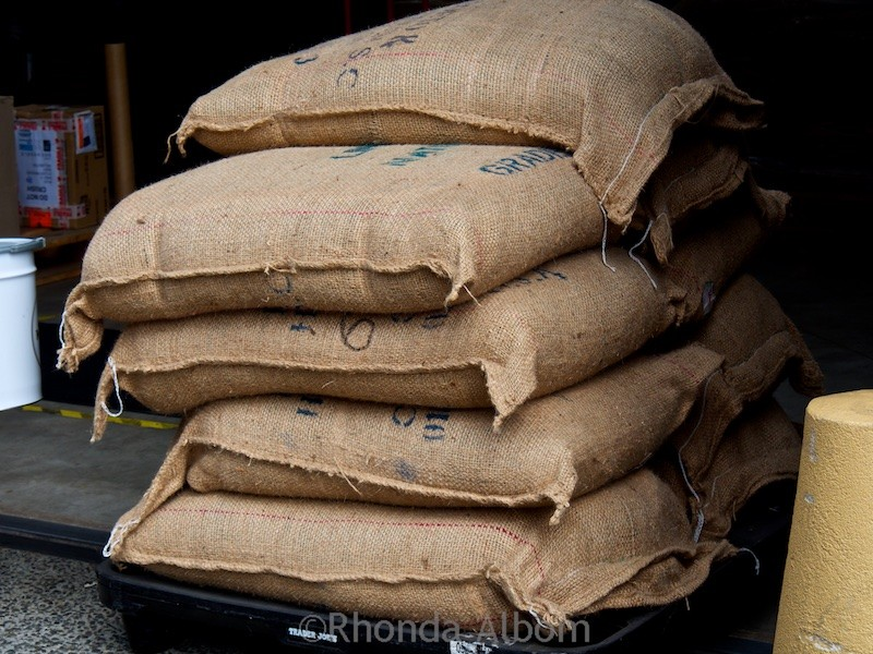 Sacks of green beans at Mojo Roastery in Wellington New Zealand