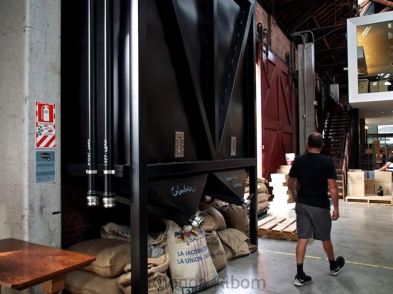 Coffee storage at Mojo Roastery in Wellington New Zealand