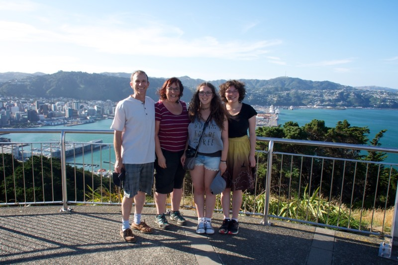 Family photo after hiking Mount Victoria in Wellington New Zealand