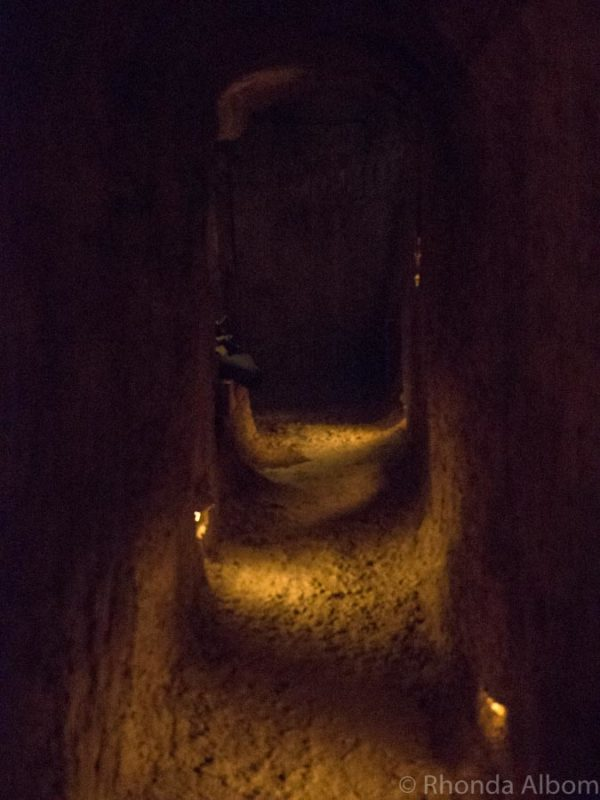 A tunnel inside Quinn's Post Trench Experience in The Great War Exhibition, Wellington New Zealand