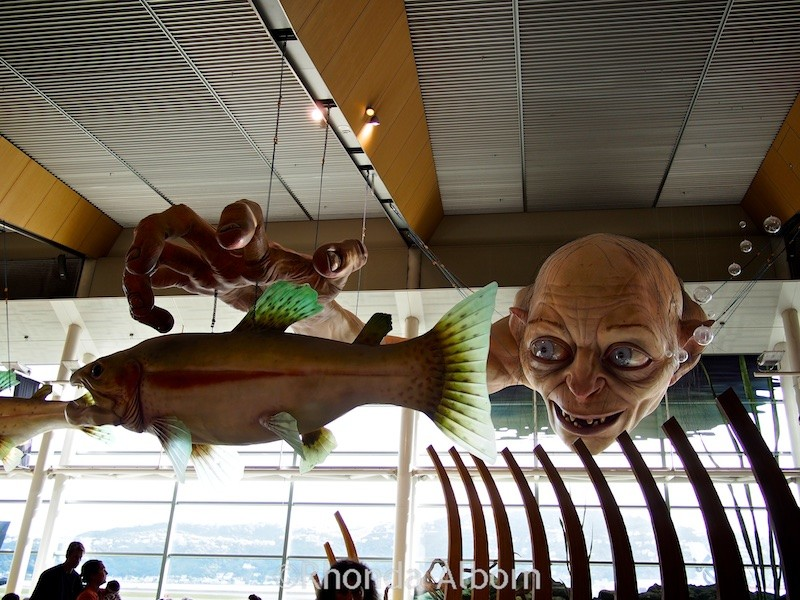 Gollum from Lord of the Rings is larger than life and on display at the Wellington Airport in New Zealand