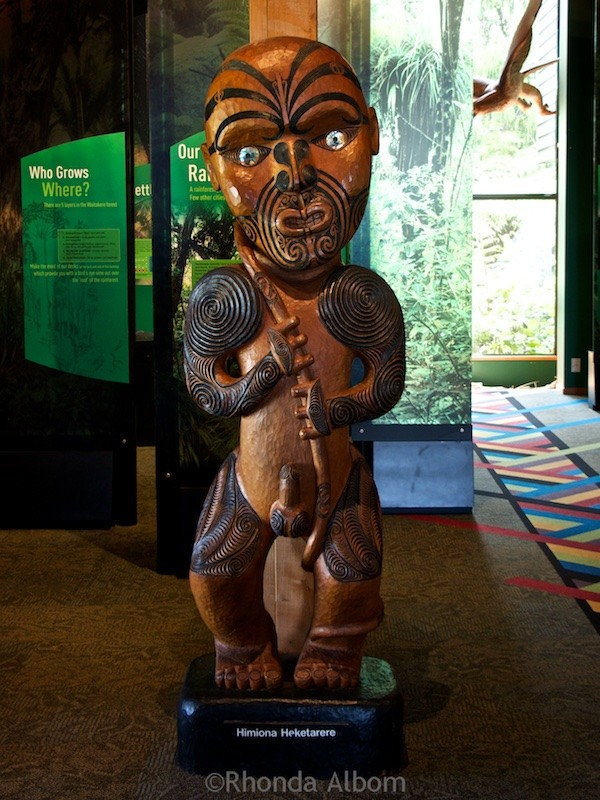 Maori carving inside the Arataki Visitor Centre in the Waitakere Ranges, Auckland, New Zealand