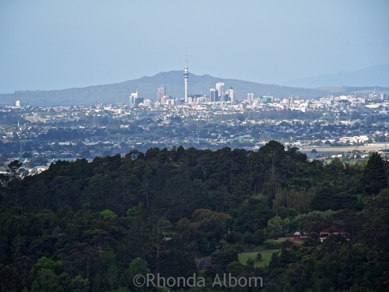 The view of nearby Auckland city from a viewing platform near Arataki Visitor Centre in the Waitakere Ranges, New Zealand
