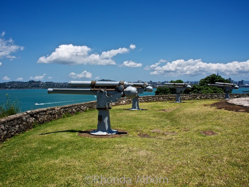 Now ornamental these cannons once guarded the shore at North Head in Devonport New Zealand