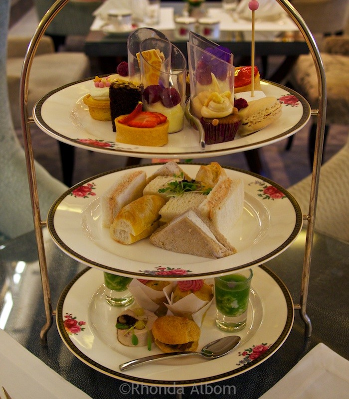 Afternoon Tea seved on traditoinal three-tiered cake plate at the Langham Hotel, Auckland New Zealand