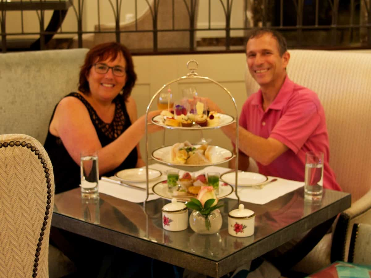 Hubby and I toast to our Afternoon Tea in Auckland's Langham Hotel, New Zealand