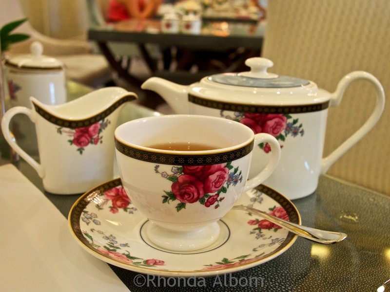 Wedgewood china service is standard at Afternoon Tea at Palm Court in the Langham Hotel, Auckland New Zealand