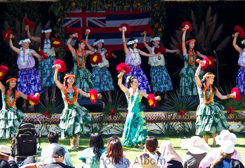 Hawaiin hula dancers at the Pasifika Festival in Auckland New Zealand