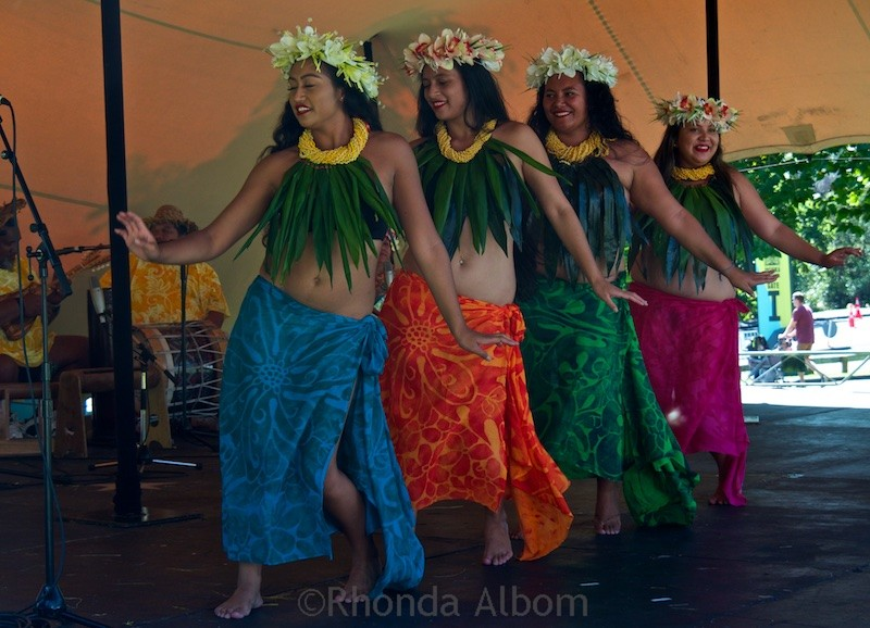 Tahitian dancers at the Pasifika Festival in Auckland New Zealand