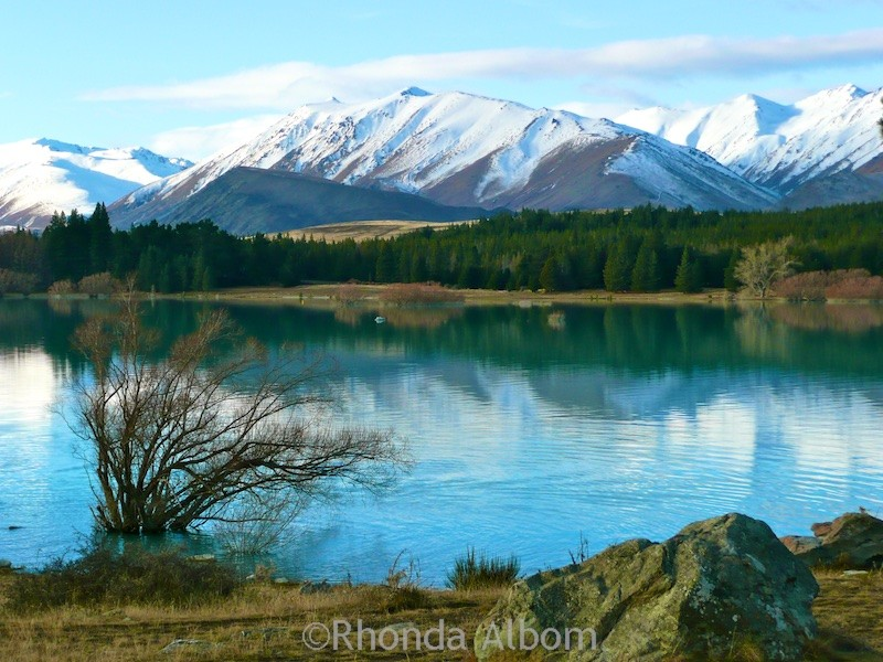 Beautiful azure lake Tekapo on the South Island of New Zealand